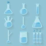 实验室化学制品装瓶玻璃器皿 向量 免版税图库摄影