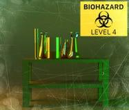 实验室和生物危害品学习,分析和测试与容器对于在桌上的液体 病毒和细菌 向量例证