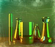 实验室和生物危害品学习,分析和测试与容器对于在桌上的液体 病毒和细菌 皇族释放例证