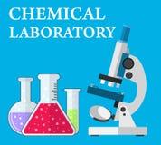 实验室显微镜和试管有液体的 库存例证