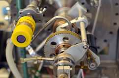 实验室机器的零件细节有齿轮的 免版税图库摄影