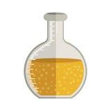 实验室的玻璃圆烧杯用液体解答 皇族释放例证