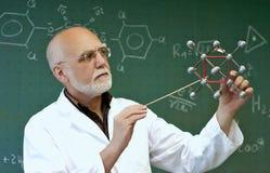 实验室职员显示分子 免版税库存图片