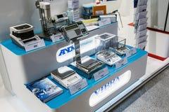 实验室设备和化学制品R的国际陈列 免版税库存照片