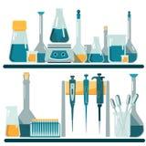实验室设备和玻璃器皿 库存例证