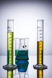实验室设备烧杯试管 免版税库存照片