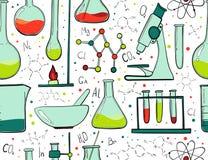 实验室设备颜色无缝的样式 科学化学 显微镜、玻璃烧瓶和试管 化学制品 库存例证