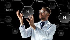 实验室风镜化学式的科学家 向量例证