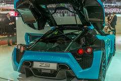 实验装置的介绍Zenvo的1 GT站立在日内瓦国际汽车展示会 免版税图库摄影