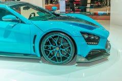 实验装置的介绍Zenvo的1 GT站立在日内瓦国际汽车展示会 库存照片