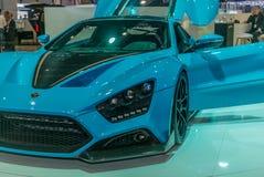 实验装置的介绍Zenvo的1 GT站立在日内瓦国际汽车展示会 免版税库存照片