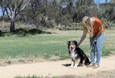 宠爱坐的狗的妇女 免版税图库摄影