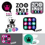 宠物店动物商标标志模板 动物园宠物店标志 猫,兔子,长卷毛狗商标 免版税库存图片