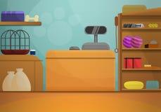 宠物店概念横幅,动画片样式 库存例证