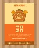 宠物店的商标 小册子,飞行物设计传染媒介 免版税库存照片