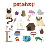 宠物店装饰象设置与金丝雀、鱼、变色蜥蜴、兔子、狗和猫象和物品宠物动画片的 向量例证