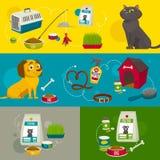 宠物照管对象构成、传染媒介动画片例证、猫狗食和材料 免版税库存照片