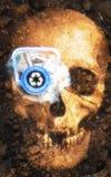 宠物瓶人的头骨和地球 库存图片