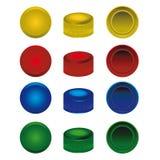 从宠物瓶的四个颜色塑料盖帽 皇族释放例证