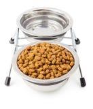 宠物的干食物用在金属的水滚保龄球 库存照片