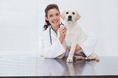 审查一条逗人喜爱的狗的微笑的兽医 免版税库存照片