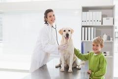 审查与它的所有者的微笑的狩医一条狗 免版税库存图片