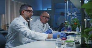 审查各种各样的液体的科学家 影视素材