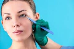 审查女性客户的整容外科医生在办公室 检查妇女的面孔,在整容前的眼皮的医生 免版税图库摄影