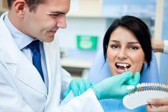 审查患者的牙的苍白的牙医 免版税库存图片