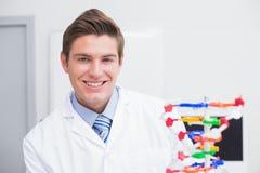 审查脱氧核糖核酸模型和微笑对照相机的科学家 免版税图库摄影