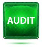 审计霓虹浅绿色的方形的按钮 皇族释放例证
