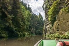 审阅一个多小山森林的河的看法 免版税图库摄影
