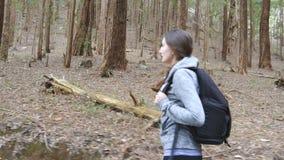 审阅木头的女性背包徒步旅行者在暑假旅行期间 有背包的年轻女人游人走在的 股票录像