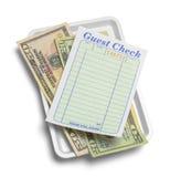 客人检查和现金 免版税库存照片