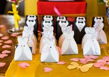 客人的婚礼bonbonniere 免版税库存照片