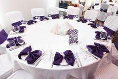 客人的装饰的桌 免版税库存图片