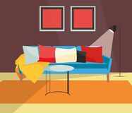 客厅五颜六色的斯堪的纳维亚设计 向量例证