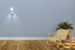 客厅内部与有灯的木沙发,蓝色墙壁背景的植物 3d?? 向量例证