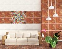 客厅内部有在瓦片褐色地板上的瓦片经典纹理墙壁背景,最小的设计,3d翻译 向量例证
