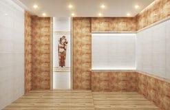 客厅内部有在瓦片褐色地板上的瓦片经典纹理墙壁背景,最小的设计,3d翻译 库存例证
