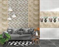 客厅内部有在黑花岗岩砖地上的瓦片经典纹理墙壁背景,最小的设计,3d翻译 库存例证