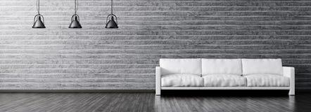客厅内部有沙发和灯全景的 免版税库存照片