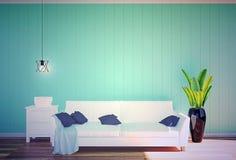 客厅内部-白革沙发和绿色墙板与空间在软的过滤器 免版税库存图片