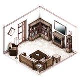 客厅和壁炉剪影 免版税库存照片