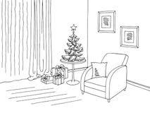 客厅图表圣诞树黑色白色内部剪影例证传染媒介 库存照片