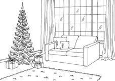 客厅图表圣诞树黑色白色内部剪影例证 免版税库存照片