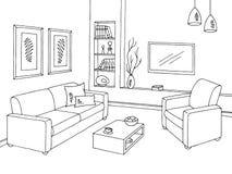 客厅图表黑白色内部剪影例证传染媒介 库存图片