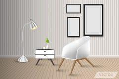 客厅室内设计和装饰,传染媒介,例证 向量例证