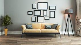 客厅室内设计想法 免版税图库摄影