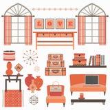 客厅家具和辅助部件在珊瑚红色与窗口 皇族释放例证